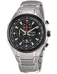 Seiko Men's SNAE43 Chronograph Multifunction Stainless Steel Black Dial Watch