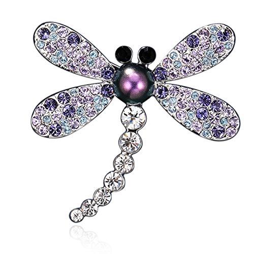 RAINBOW BOX Dragonfly Brooch Pins for Women with Swarovski Crystal Jewelry, Purple Rhinestone Women's Brooches & - Swarovski Crystal Brooch Rhinestone Pin