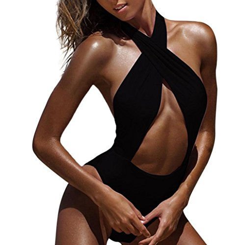 Women One Piece Swimsuit High Waisted Halter Cross Strap Ruffled Flounce Bikini Cut Out Push Up Padding Cup Pool Swim Bathing Suit Sexy (XL, Black) by Goodtrade8