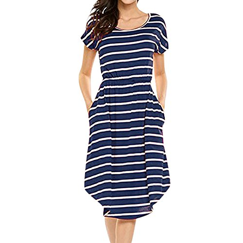 DongDong Hot Sale! Dress Elastic Waist Striped Women's Casual Short Sleeve Dress with Pockets