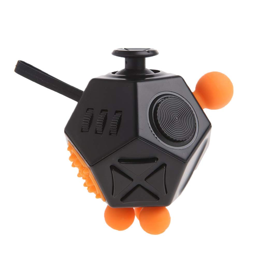 CHUCHIK Best 12 Side Fidget Cube Toys. Prime Desk Toy, Reduce Anxiety and Stress Relief for Autism, ADD, ADHD & OCD (Black-White)