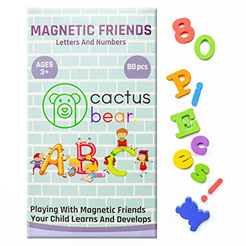 Cactus Bear Magnetic ABC Letters and Numbers for Children - Fun Alphabet Refrigerator Toy Magnets for Vocabulary and Maths - 80 Foam PCS
