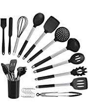 ELCM Premium 12pc Silicone Kitchen Utensil Set for Cooking, Sleek Grey and Brushed Stainless Steel, Includes, Tongs, Whisk, Spatula, Ladle, Spoon, Turner, Potato Masher and More