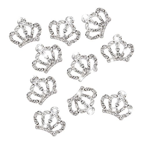 ROSENICE 10pcs Crystal Crown Rhinestone Embellishments for Craft Decoration (Silver)