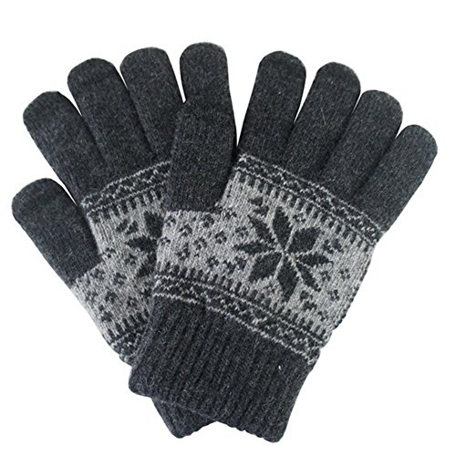 Gray Knit Glove (J+F Co. Touch Screen Gloves Winter Cold Weather Warm Cozy Thick Wool Knit Texting Outdoor Mens/Womens Mittens (Dark Gray))