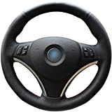 Black Genuine Leather Steering Wheel Cover for BMW 128 I 135 I / BMW 325 I 328 I 328 XI 328 I XDrive / BMW 330 XI / BMW 335 I 335 XI 335 D 335 I XDrive