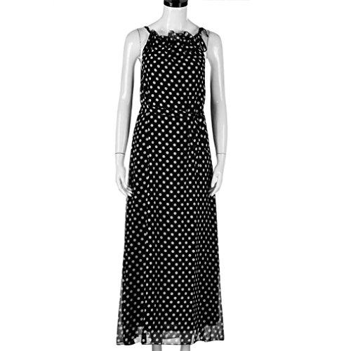 Hot Women Dress! AMA(TM) Women Summer Sleeveless Polka Dots Boho Dress Maxi Long Evening Party Dress Beach Sundress (M, Black) by AMA(TM) (Image #2)