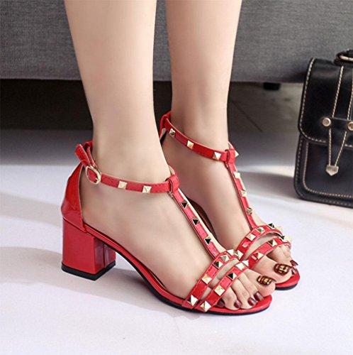 Gruesa Cabeza Zapatos Con Palabras Hembra De Red Pescado Abiertas Sandalias Hebilla tqzwff