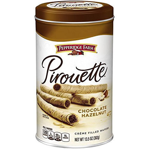 (Pepperidge Farm Crème Filled Pirouette Rolled Wafers, Chocolate Hazelnut, 13.5-ounce can (pack of 6))
