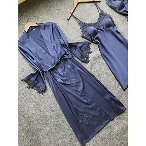 Xl Usura Rilievo Pezzi A Pale Piccolo Estate Petto Dimensioni Abiti Quattro Del Donne Sexy Blu Hongna Pink colore Delle Pigiama Casa Raso Nastro Yq7wx881