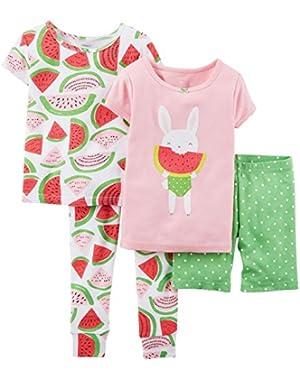 Baby Girls' 4 Piece Print PJ Set (Baby) Watermelons