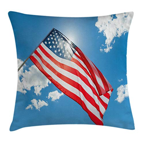 """Ambesonne 4th of July Throw Pillow Cushion Cover, Flag of United States of America Waving in Clear Blue Sky, Decorative Square Accent Pillow Case, 16"""" X 16"""", White Blue"""