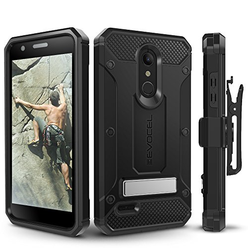 (LG K30 / LG Premier Pro/LG Harmony 2 Case, Evocel Heavy Duty Protection with Glass Screen Protector, Rugged Holster, and Kickstand, Explorer Series Pro - Black )