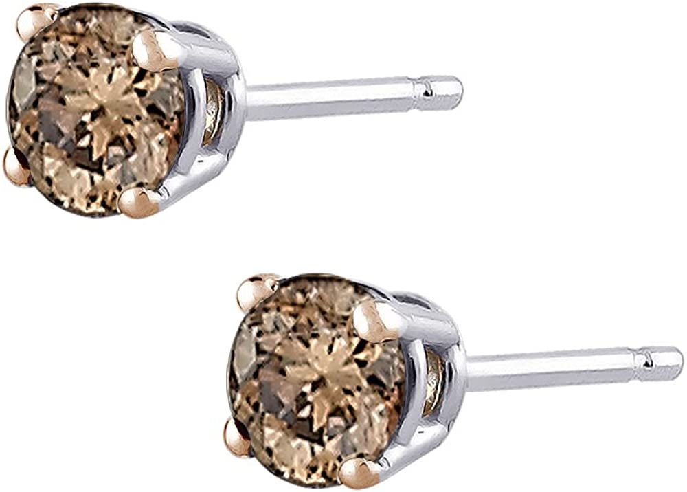 Amazon Com Brown Round Brilliant Cut Diamond Earring Studs In 14k White Gold 1 4 Cttw Chocolate Diamond Earrings Jewelry