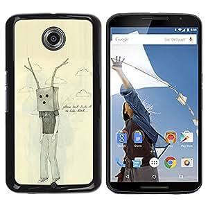 iKiki Tech / Estuche rígido - Bag Antlers Sad Emo Ugly Drawing - Motorola NEXUS 6 / X / Moto X Pro