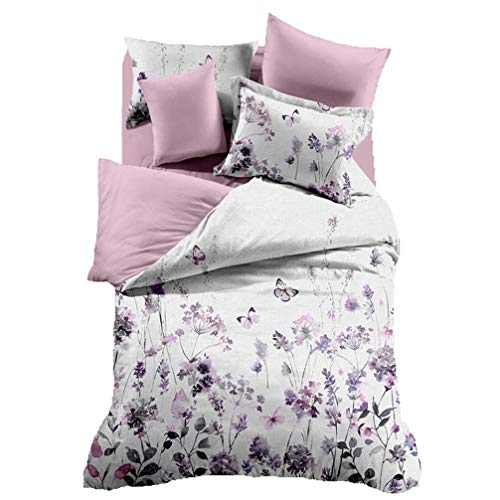 3Pcs Purple and Pink Flowers Floral Bedding (1 Duvet Cover +2 Pillowcases,No Comforter) Set Twin for Girls Women,Adults,3D Microfiber Bed Cover Set Twin