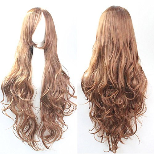 Womens Ladies Girls 80cm Brighter Orange/ginger Color Long Curly Wigs Hair Carve Cosplay Costume Anime Party Bangs Full Sexy (Sexy Ginger)