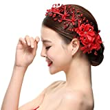 Elevin(TM)Women Boho Lace Pearl Crystal Headdress Headwrap Wedding Accessories