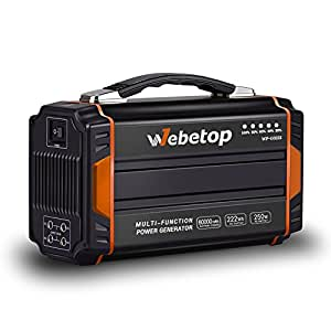 Webetop Generators Portable Power Inverter Battery 250W 60000mAh Camping CPAP Emergency Home Use UPS Power Source Charged by Solar Panel/ Wall Outlet/ Car with 2 110V AC Outlet, 4 DC 12V, 2 USB Port