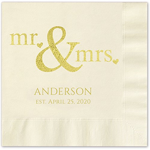 Ecru Luncheon Napkins - Canopy Street Mr and Mrs Hearts Personalized Luncheon Napkins - 100 Ivory Ecru Paper Coined Napkins with a Choice of foil. 6 1/2'' x 6 1/2'' Folded, Made in The USA