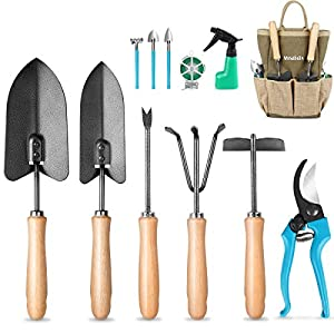 MOSFiATA Garden Tools Set, 12 Pcs Gardening Tools Ergonomic Comfortable Handle and Heavy Duty Hoe Rake Trowel Handle…