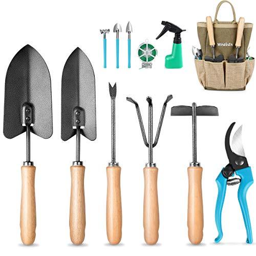 MOSFiATA Garden Tools Set, 12 Pieces Gardening Tools Ergonomic Oak Handle and Heavy Duty Hoe Rake Trowel Transplanter Weeder Professional Pruner Sprayer Rope Kit with Organizer Bag for Kids Women Men