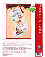 Dimensions Cross Stitch 'Reindeer and Hedgehog' Personalized Christmas Stocking Kit, White 14 Count Aida, 16''