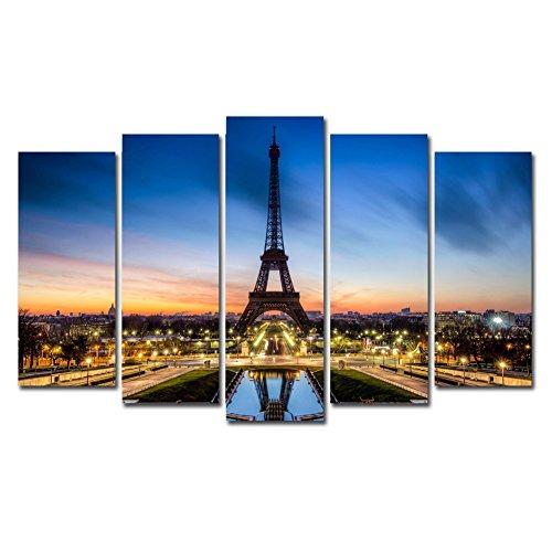 Horgan Art France Paris Eiffel Tower Decor Wall Art, Romantic City Paintings Picture Prints On Canvas, Modern Building Artwork for Home Decorations (No Frame)