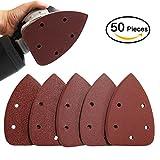H&Z 50PCS Mouse Detail Sander Sandpaper Sanding Discs Hook and Loop Assorted 40/ 80/ 120/180/240/ Grits