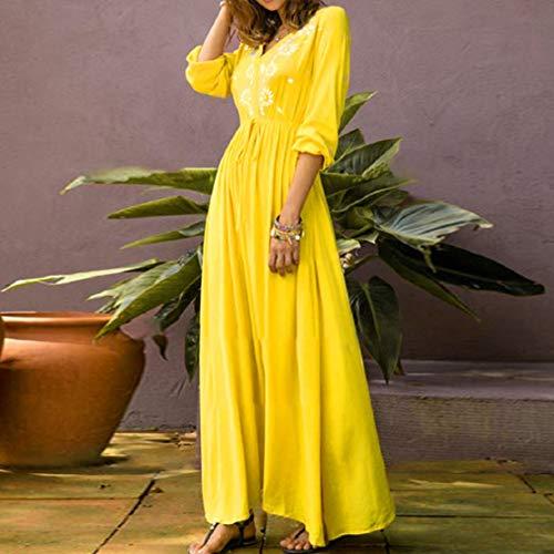 Women Print Long Dress Summer Beach Dress V Neck High Waist Dress Floral Printed Maxi Dress by Lowprofile Yellow by Lowprofile Dress (Image #1)