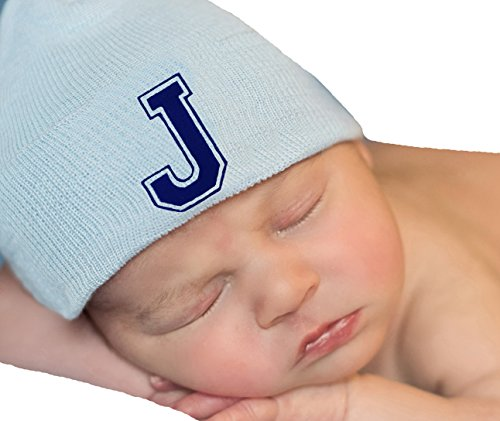 Flocked Letter - Melondipity Blue Hat with Royal Blue Flocked Initial Letter - Newborn Boy Hat (J)
