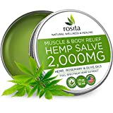 Pain Relief Hemp Oil Salve - 2000 MG - Max Strength & Efficiency - 100% Natural Ointment - Hemp Extract for Arthritis, Knee, Joint & Back Pain - Made in USA - Hemp Balm for Inflammation & Sore Muscles