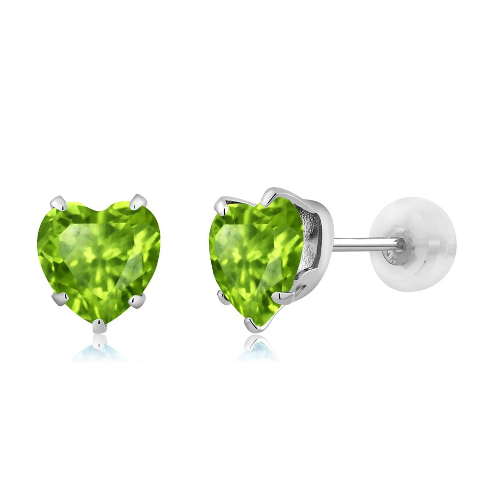 10K White Gold Heart Shape Green Peridot and Diamond Pendant Earrings Set by Gem Stone King (Image #3)