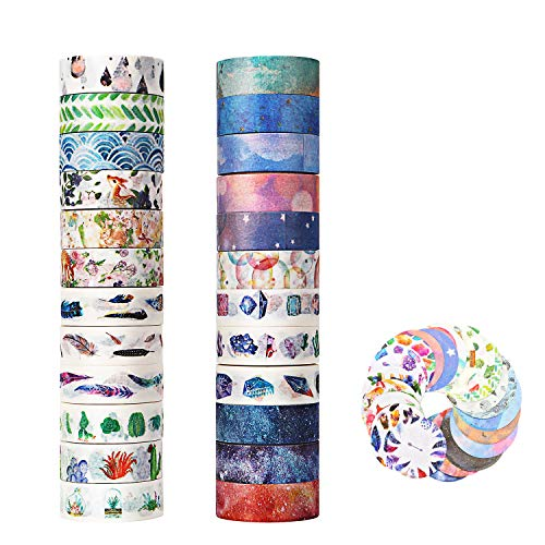 Molshine Set of 24 Rolls(0.6inX5.5yd/roll) Washi Masking Tape +24sheets Stickers, Sticky Paper Tape for DIY, Decorative Craft, Gift Wrapping, Scrapbook- Star Animal Color Series