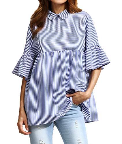 Camicie Bluse Moda Risvolto Casual Tops Tumblr a Cime Righe Onlyoustyle Blu Campana Estivi a Maniche Maglietta Shirts Donne qwS8gPO
