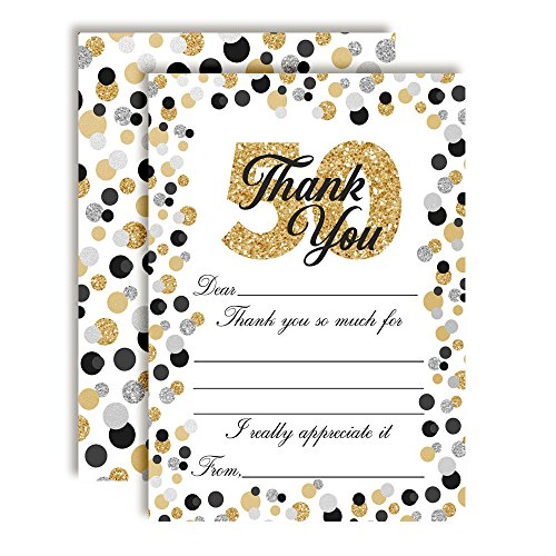 Border Big Bold (Confetti Polka Dot 50th Themed Thank You Notes, Ten 4