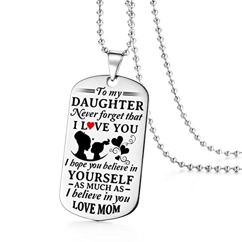 To My Daughter I Love You Never Forget Mom Mommy Mother Dog Tag Military Air Force Navy Coast Guard Necklace Ball Chain Gift for Best Daughter Birthday Graduation Stainless - Tag Guard Dog