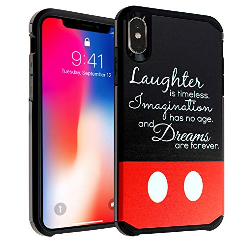 iPhone Xs Max Case, IMAGITOUCH 2-Piece Style Armor Case with Flexible Shock Absorption Case & Disney Quotes Design Cover Hybrid for iPhone Xs Max-Laughter Imagination Dreams Quotes