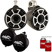 Wet Sounds REV 10 Fixed Clamp Tower Speakers with Suitz speaker Covers - Black