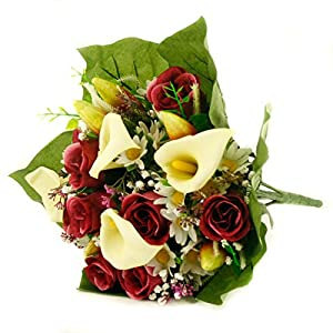 FloristryWarehouse Artificial silk mixed flower bouquet Calla Lillies Roses 16 inches 91