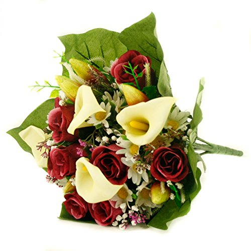 24 Mixed Roses Bouquet - FloristryWarehouse Artificial silk mixed flower bouquet Calla Lillies Roses 16 inches Burgundy