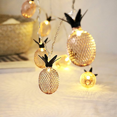 Kaimao 20-Light Gold Metal Mesh Pineapple LED Lantern String Lights Decorative Lights for Party Bedroom Festival Decoration