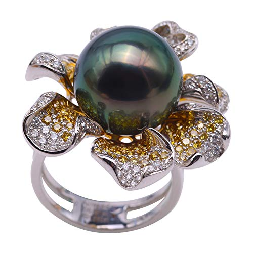 Gorgeous 14mm Peacock Green Tahitian Pearl Ring in 18k Gold & Diamonds 18k Tahitian Pearl Ring