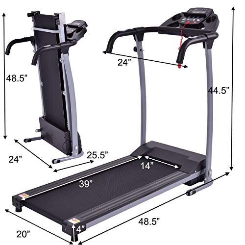 Goplus 800W Folding Treadmill Electric Motorized Power Fitness Running Machine with LED Display and Mobile Phone Holder Perfect for Home Use (Black) by Goplus (Image #6)