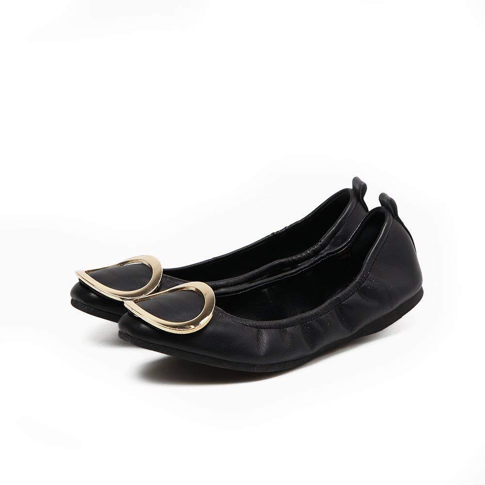Eeayyygch Court Schuhe Egg Roll Schuhe Einzelne Schuhe weiblich flach mit flachem Mund Runde Flache Schuhe Runde Schnalle Vier Schuhe Wild Schuhe 37 schwarz (Farbe   - Größe   -)