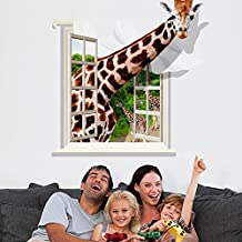 Giraffe Window 3D Style Wall Decal PVC Home Sticker House Vinyl Paper Decoration WallPaper Living Room Bedroom Kitchen Art Picture DIY Murals Girls Boys kids Nursery Baby Playroom Decor