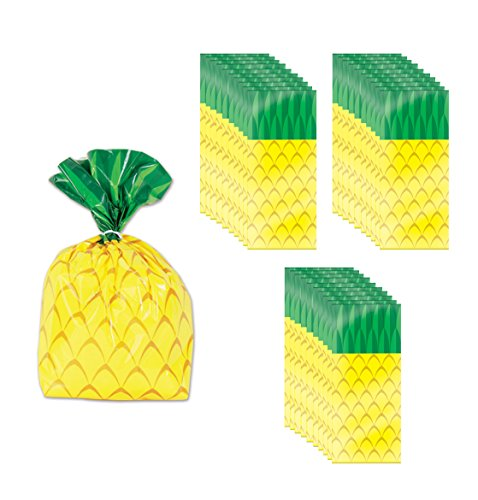 Beistle 52213 75 Piece Pineapple Cello Bags, 4
