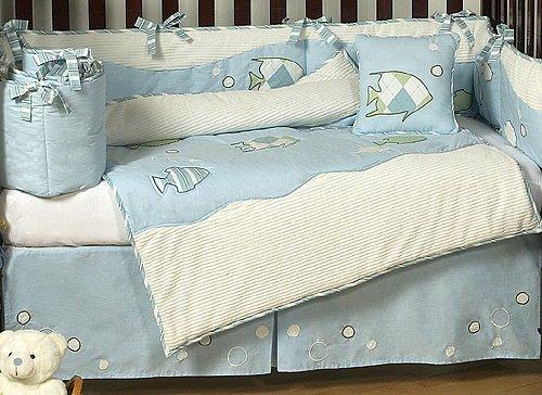 Amazon Sweet Jojo Designs Go Fish Blue Ocean Under The Sea Baby Boy Bedding 9pc Crib Set Sets For Boys