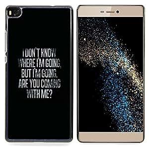 "Qstar Arte & diseño plástico duro Fundas Cover Cubre Hard Case Cover para Huawei Ascend P8 (Not for P8 Lite) (Dónde ir Mi amor de San Valentín Negro"")"