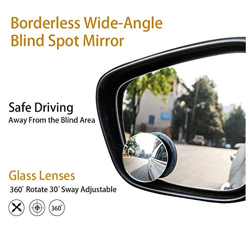 "Blind Spot Mirror 2"" Round HD Glass Slim Frameless Convex Rear View Mirror Wide Angle 360°Rotate 30°Sway Adjustable Stick On Mirror Pack of 2"